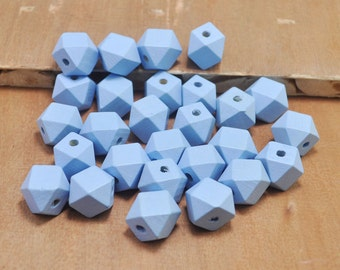 50pcs Blue Wood Beads,Polygonal 15mm Hand painted Beads, Make jewellery for selling,14 Hedron Geometric Natural Wood Beads.