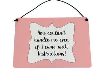 Hanging plaque Sign You Couldn't Handle Me Funny Slogan Gift