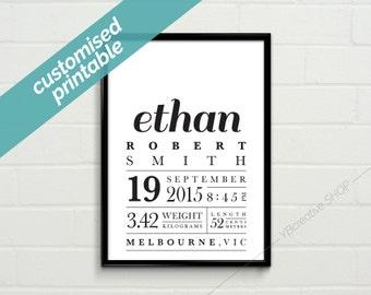 Custom Birth Announcement / new baby / personalised gift