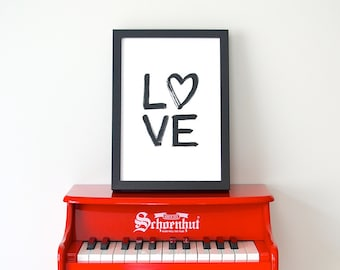 LOVE > brush script typography print / wedding / engagement / anniversary / valentine