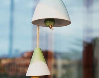 Bells, Pottery Bells, Garden Decor, Clay garden bells, Home Bells, Colored Bells - CG00001