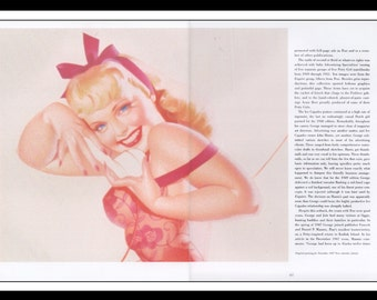 """George Petty Vintage Pinup Illustration Sexy Pinup 2 Page Spread Mature Wall Art Deco Book Print 18"""" x 11 3/4"""""""