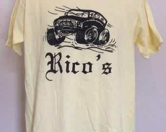 Vtg 70s 80s Rico's Trucks & Stuff T-Shirt Yellow L Sportswear Thin 50/50