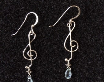 Small Treble Clef Earrings - Sterling Silver, Palest Blue Topaz Drops