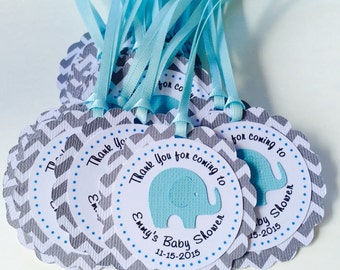 12 Elephant Thank you Favor Tags, Personalized, Babyshower
