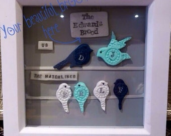 Personalised 'My Beautiful Brood': Two generations of your family depicted with pretty handmade Polymer Clay birds. For parents/children.