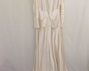 1930s House Gown / Ivory Satin Silk Floor Length Robe.