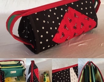 Small Sewing Bag tutorial with flying pockets (PDF tutorial)