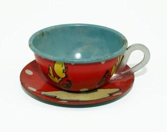 Vintage Metal Teacup and Saucer, Vintage Ohio Art Tin Lithograph Children's Toy Tea Cup & Saucer, Vintage Tin Cup, 1930s toy teacup