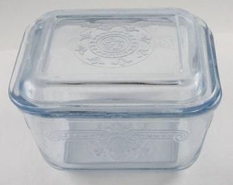 Fire King Refrigerator Dish, Philbe Sapphire Blue Pattern, 1940's