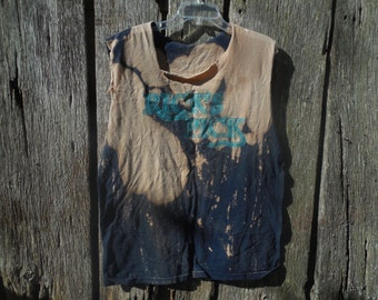 """One of a kind bleached and destroyed t shirt """"Ricks Pick"""" navy blue number 22 on the back cut off sleeves shredded distressed oversized XL"""