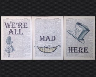3 x Alice in wonderland cheshire cat were all mad here grin quote print Original Dictionary Book Page Wall Art Picture Gift vintage quirky