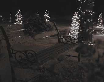 Christmas Bench - black and white photograph print - natural snow (various sizes)