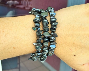 Hematite Bracelet infused with Reiki- Yoga Healing Jewelry