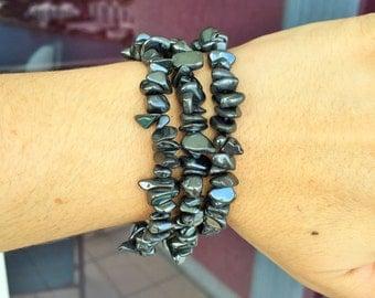 Hematite Bracelet infused with Reiki- Yoga Healing Jewelry