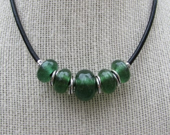 FREE SHIPPING Green lampworked bead necklace