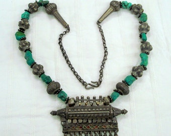 vintage antique tribal old silver necklace amulet pendant turquoise beads