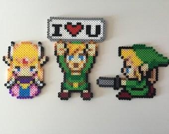 Legend of Zelda Set Perler Bead; Zelda, Link, I <3 U Link