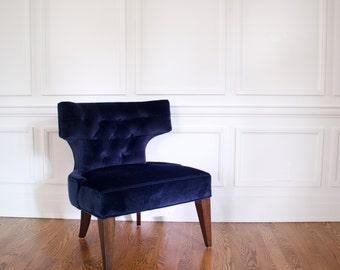 Tufted Mohair Chair, Navy Mohair Chair, Blue Slipper Chair