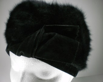 Vintage Black Kangol Furgora Hat, 1960's