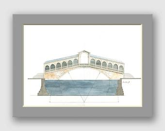Ponte Rialto Bridge Venice Italy - architectural watercolor art - architecture drawing artwork- Original watercolor painting- Juan Bosco