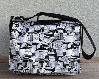 Stacks of Books Black and White Print Messenger Bag