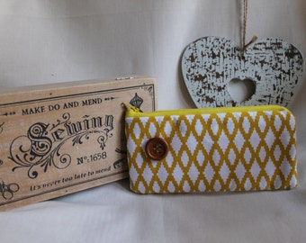 Make up wallet with vintage yellow mustard