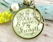 But the Lord Stood With Me Bible Verse Christian Necklace, Shabby Chic Vintage Style Encouragement Gift, Jesus Fish Charm