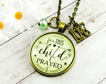 For This Child I Have Prayed Mother's Birthstone Antique Bronze Pendant Necklace Personalized Gift for Mothers Day Adoptive Mom