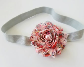 Peach flower headband, peach headband, vintage flower headband, chiffon flower headband, flower headband, baby girl headband, toddler hair