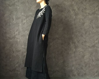 MISS LING 100%  jacquard cotton fabric customized Chinese dress handmade embroidery black gown cheongsam dress slim fit private tailoring