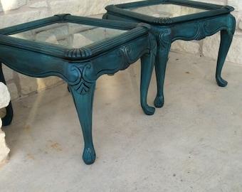 Set of Blue vintage end tables
