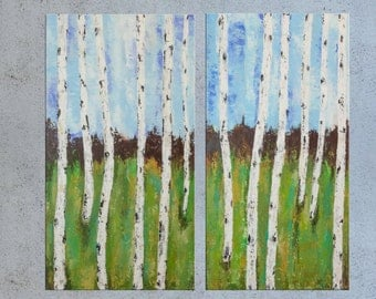 Landscape Birch tree Forest painting, Palette knife Abstract, Acrylic Impasto, Trees Texture Painting, Modern wall art Birches Made to Order
