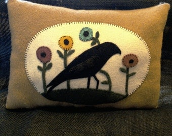 Crow and Flowers Wool Applique Pillow