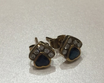 Sapphire & Diamond Stud Earrings in 18K Yellow Gold