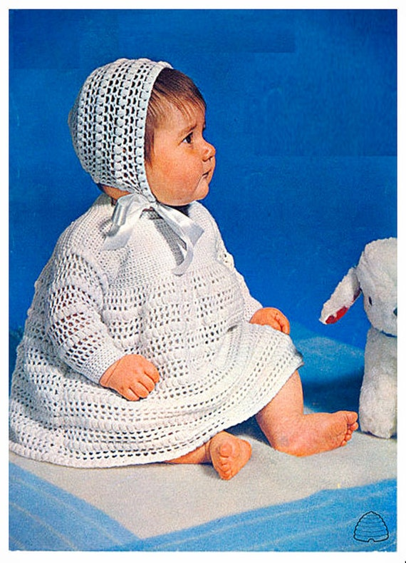 7138c59b4c9b Vintage Crochet Pattern PDF to make Baby bebé A Long Sleeve Dress ...