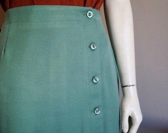 Soft Mint Green Pencil Skirt w/ Side Buttons by Ellen Figg