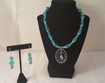Blue Necklace - Blue Glass Necklace - Glass Bead Necklace - Blue Earrings - Blue Jewelry Set - Women's Jewelry Set - Blue Jewelry - Pendant