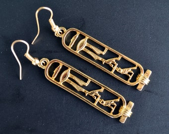 Egyptian Earrings, Hieroglyphic, Hieroglyphic Earrings, Egyptian Jewelry, Egypt, Egypt Symbols, Egypt Jewelry (E274)