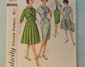 Vintage 1960's Sewing Pattern Simplicity 4340 Boxpleated Dress and Jacket size 14 bust 34
