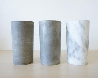 Sabai cylinder concrete vase marble or raw grey minimalist chic designer industrial modern