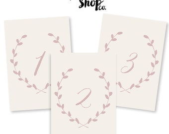 Printable Table Numbers - 5x7 - Cream with Blush Numbers and Wreath