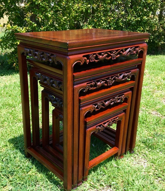 Stackable Nesting Tables ~ Chinese rosewood nesting tables vintage oriental stacking