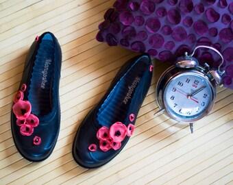 Black Women Shoes, Black Ballerinas, Floral Shoes, Barefoot Flats, Boho Shoes, Colorful Shoes, Spring Shoes, Chic Shoes, Flower Shoes, Shoes