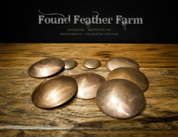 Set of Eight Flat Backed Vintage Copper Convex Rondels ~ A great find!