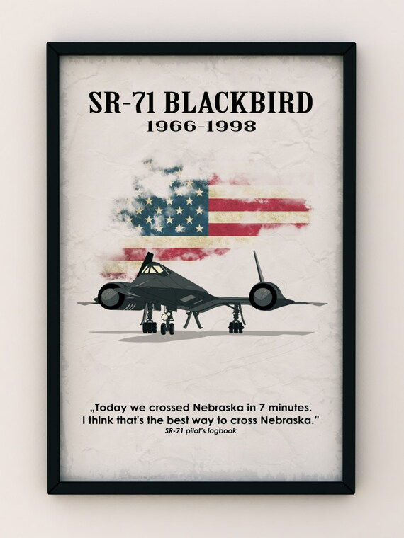 USA SR-71 Blackbird Air-Fighter, Vintage Poster, Quote Poster - Art Print Production