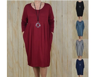 Lagenlook Dress Plus Size XL - XXXXL 16 18 20 22 24 26 28 30 Quirky Artsy Tunic Top NEW M37