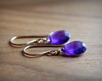 Natural Amethyst Earrings, February Birthstone Jewelry, Leverback Gemstone Dangle Drop Earrings, 14K Yellow/ Rose Gold Fill/ Sterling Silver