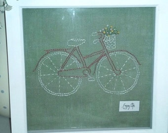 Hand Stitched Pretty Bicycle Picture