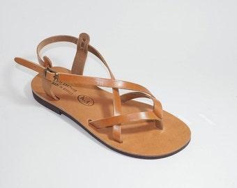 Handmade Greek Leather Sandals (37 - Yellow)